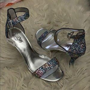 Glitter ankle strap high heels sandal